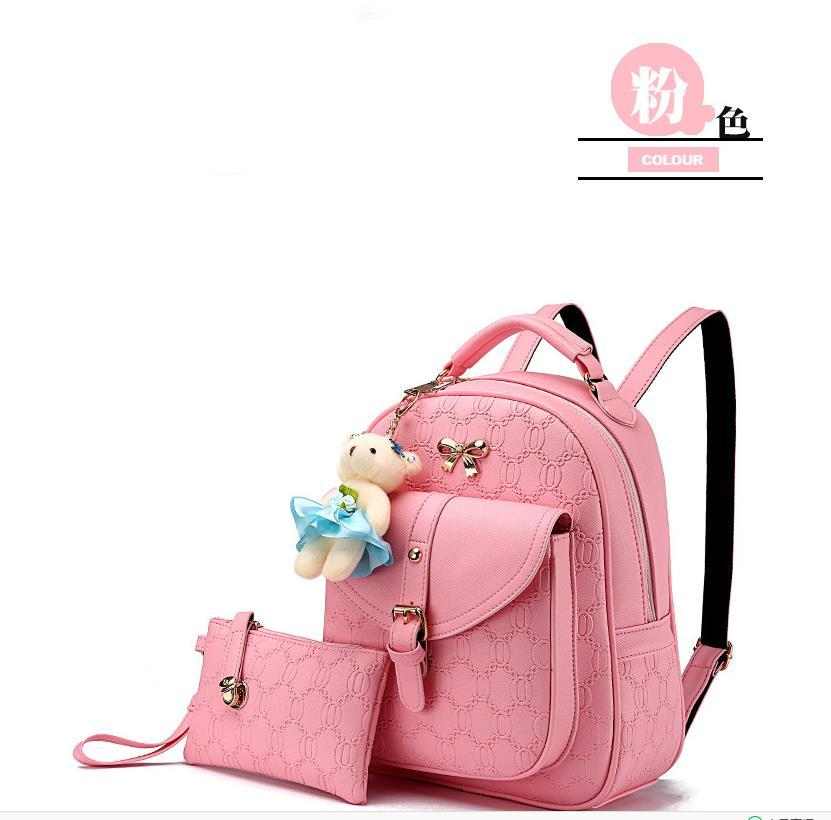 5 Color Leather Backpacks Medium Bookbags With Clutch Wallets N192-1 image 7