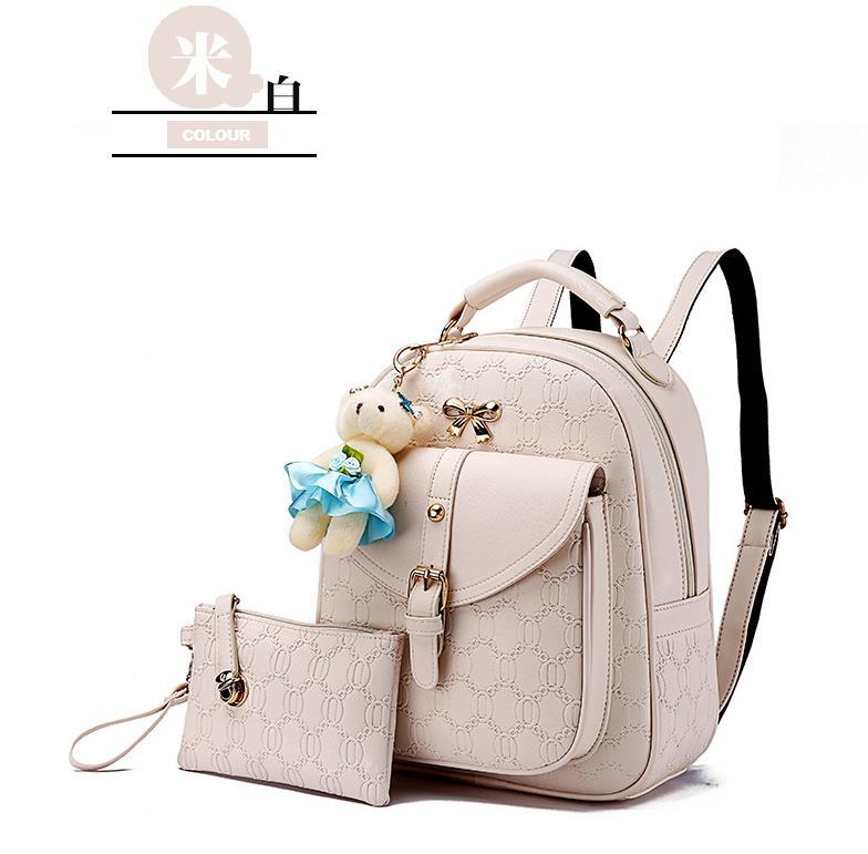5 Color Leather Backpacks Medium Bookbags With Clutch Wallets N192-1