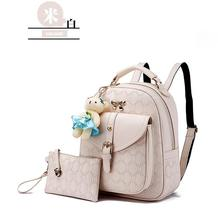 5 Color Leather Backpacks Medium Bookbags With Clutch Wallets N192-1 - $39.99