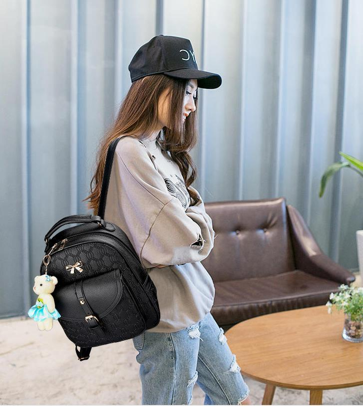 5 Color Leather Backpacks Medium Bookbags With Clutch Wallets N192-1 image 13