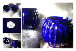 Vintage Pair of Gardener's Eden Glazed Pottery Cobalt Blue Round Ribbed ... - $56.00