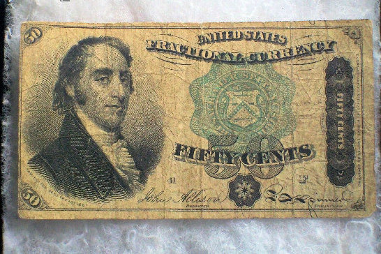 Primary image for Antique Paper Money Fifty 50 Cent Fractional Currency 1869 to 1875, Post Civil W
