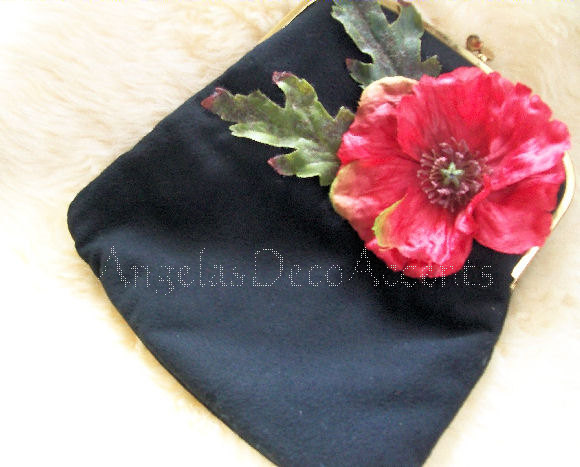 Vintage Up Cycled Clutch Black Ingber Made in USA Fold Over Purse1950's MOD Chic