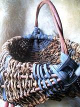 Vintage Buttocks Basket Rustic Twig Blue Gods Eye~LG Egg Basket~17 x 15 ... - $119.00