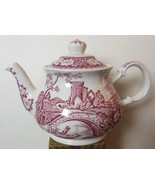 "Vintage Sadler Windsor ""Brigadoon"" Red & White Tea pot Old Castle Scene 10"" - $79.00"