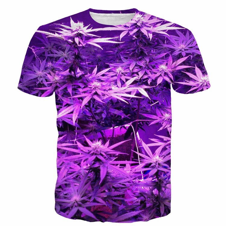 Natural weed plants bright purple marijuana leaves cool 3d for Bright purple t shirt