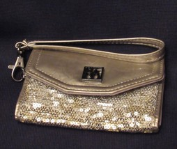 Style & Co Patent Silver Vinyl and Gold Sequin Shimmery Wristlet Wallet NWOT