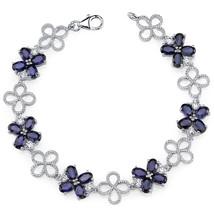 Women's Sterling Silver Clover Design Blue Sapphire Tennis Bracelet - $399.99