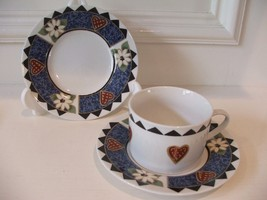2 Saucers & 1 Cup Tabletops Unlimited Barnyard Blues Karen C... - $9.89