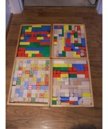 Wooden Blocks in Storage Trays Multi Colored Letters Numbers Many Shapes - $59.39