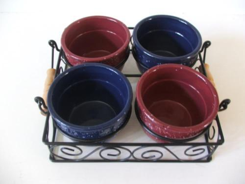 5 Piece Serving Set 4 Nut or Condiment Bowls Metal Serving Tray Handles Blue Red - $29.69