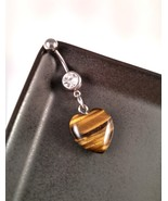 Tiger Eye Natural Stone Heart Belly Ring - $15.00