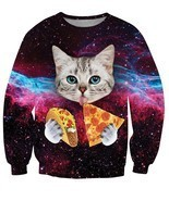 Space Galaxy Blue Eyes Cat Eating Taco Pizza Awesome 3D Sweatshirt - $39.99