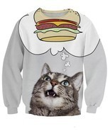 Super cute fat burger cat all over print timeless 3d sweatshirt thumbtall