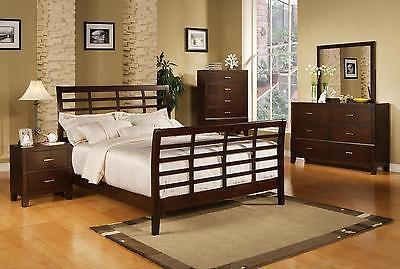 Serena Queen Modern Sleigh Bed 4 piece Bedroom Furniture Set Dark Brown Wood