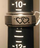 HuntForDeals Stainless Steel Spin Band Ring Double Heart Design - $5.75