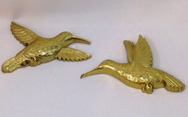 Vintage Homco Hummingbirds Wall Art Gold Hollywood Regency Set of Two (2... - $11.04