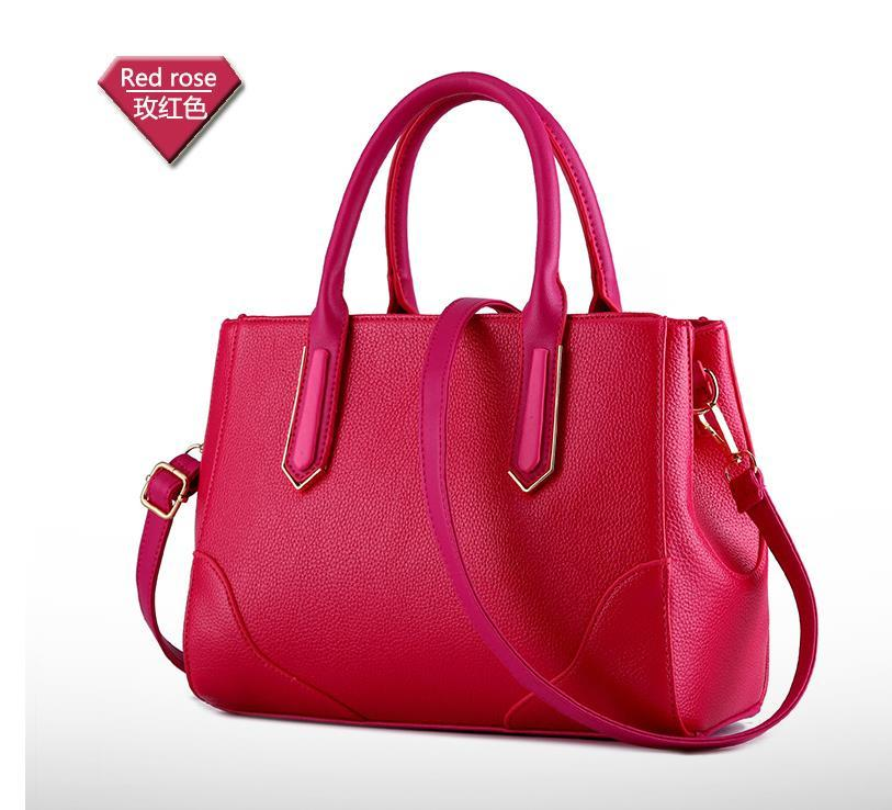 Simple Leather Shoulder Bags Women Leather Tote Bags Medium Messenger Bags 200-1