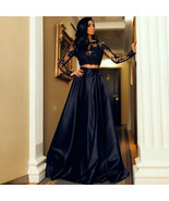 Two Piece Evening Dress Long Sleeve Black Satin Appliques Party Prom Bri... - $139.00