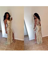 Sexy Gold Sequined Evening Dresses Mermaid High Split Prom Party Bridal ... - $188.00