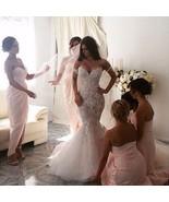 Elegant Tulle Wedding Dresses Mermaid Appliques Pearls Bridal Gowns Cust... - $269.99