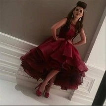 High Low Wine Red Tulle Evening Dresses Formal Party Prom Bridal Gowns C... - $102.86