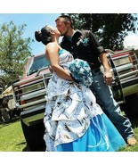 Hot White Camo Blue Tulle Wedding Dresses Ball Gown Camouflage Bridal Gowns - $159.00