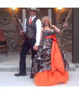 New Camo Wedding Dress Ball Gown Orange Tulle Camouflage Appliques Brida... - $159.00