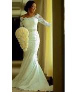 Half Sleeve White Lace Mermaid Wedding Dresses Formal Bridal Gowns Custo... - $179.00