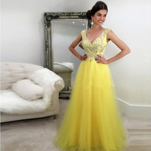 Yellow Tulle Crystal A-Line Evening Dresses Formal Party Prom Bridal Gow... - $94.26