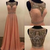 New Crystal Pink Chiffon Evening Dresses A-Line Long Party Prom Bridal G... - $229.00