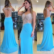 Sexy Backless Evening Dresses Chiffon Crystal Beading Prom Cocktail Brid... - $90.82