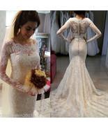 2017 Mermaid Lace Appliques Wedding Dresses Sheer Back Formal Bride Gown... - $229.00