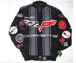 Chevy Corvette Collage Mens Black Twill Jacket by JH Design (S) - $122.71