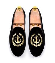 Handmade Men's Black Fashion Embroidered Slip Ons Loafer Velvet Shoes image 3