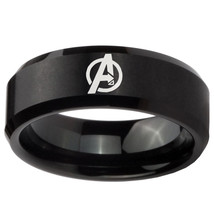 8mm Black Brush Finish Beveled Avengers Tungsten Carbide Ring Sz 7-14 - $34.99