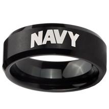 8mm Black Brush Finish Beveled NAVY Tungsten Carbide Ring Sz 7-14 - $34.99