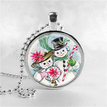 CHRISTMAS SNOWMAN Pendant Necklace Snowmen, Vintage Christmas Jewelry, C... - €10,50 EUR