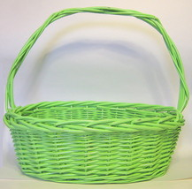 Large Green Wicker Basket with Handle AS IS - $32.07