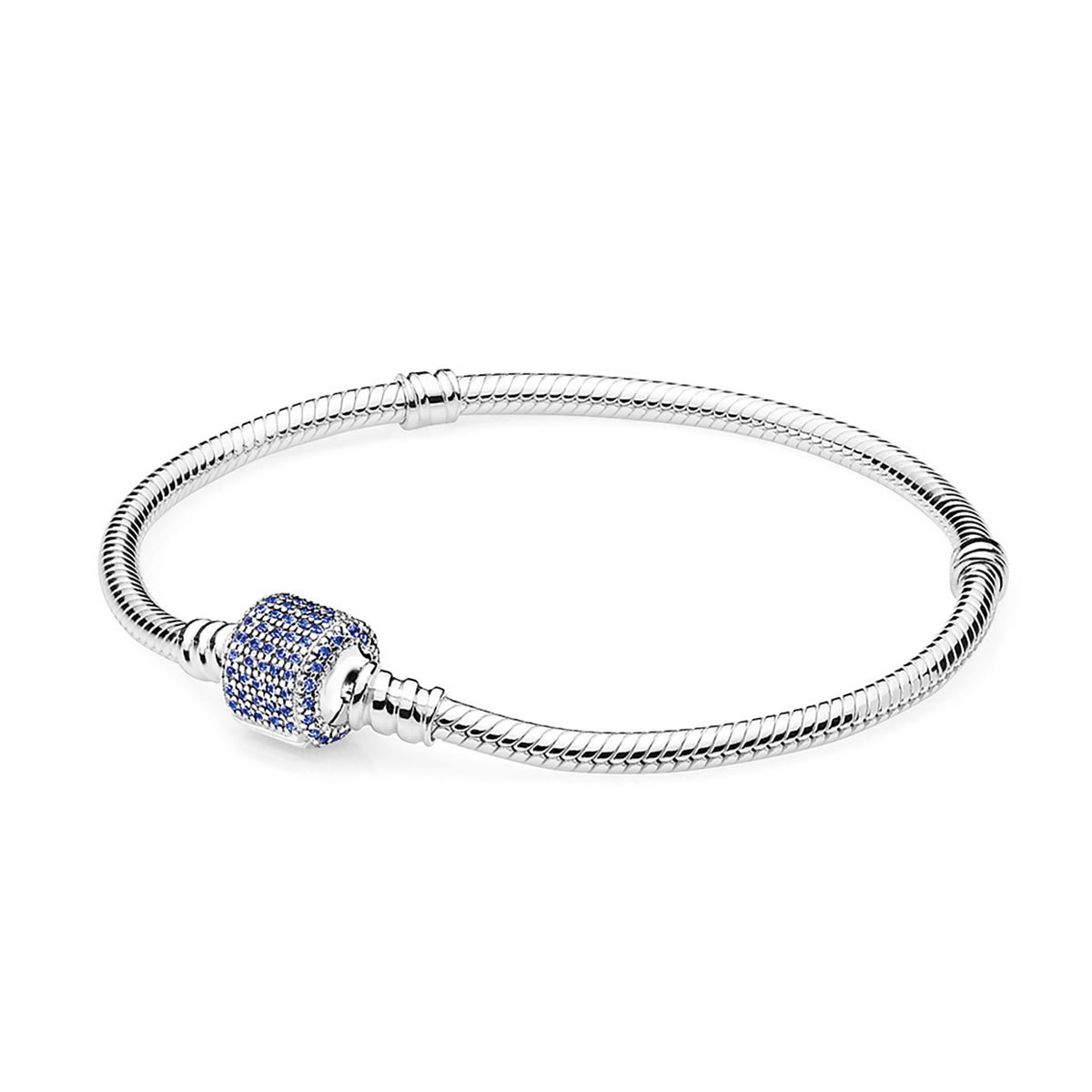 925 Sterling Silver Signature Clasp with Royal-Blue Crystal Snake Chain Bracelet