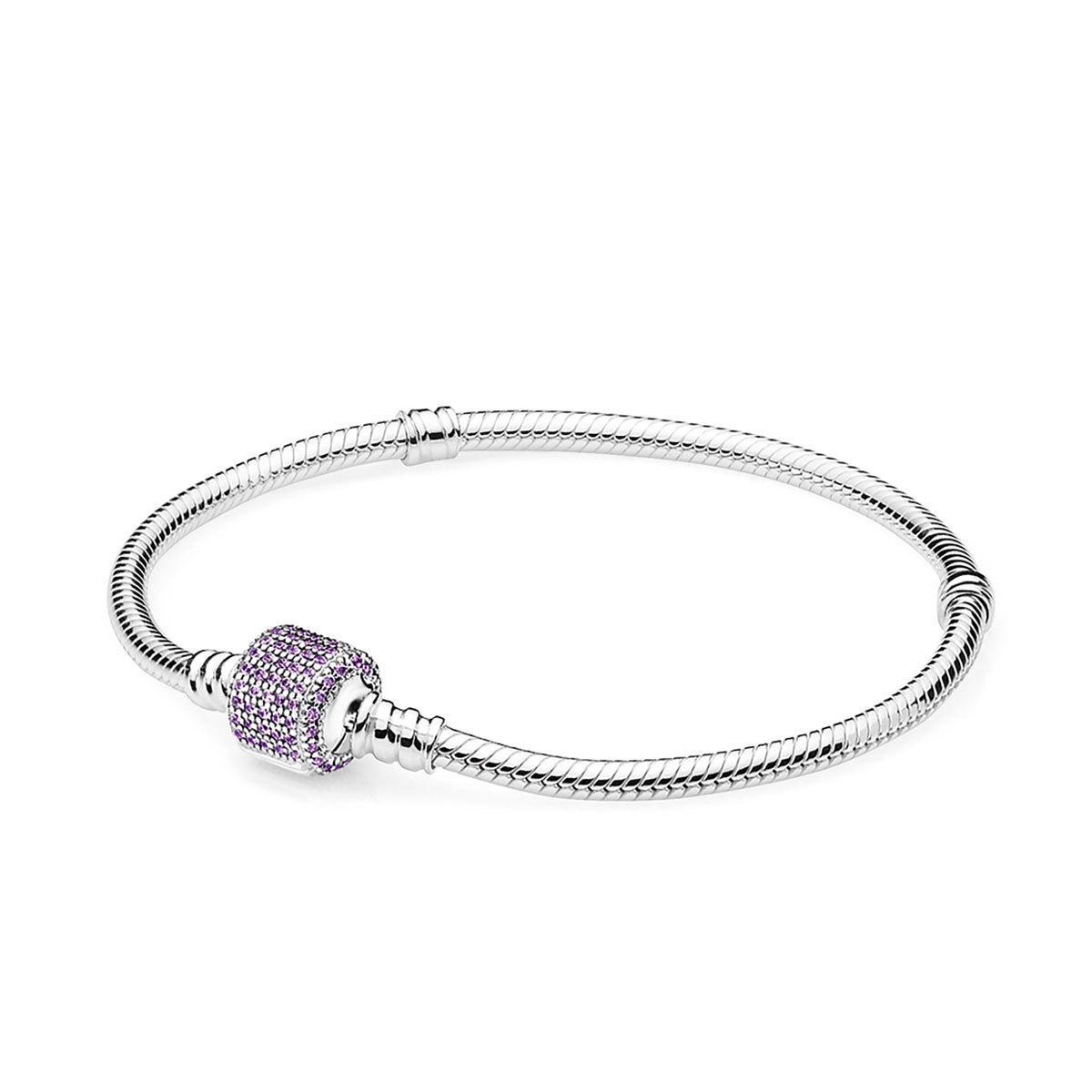 925 Sterling Silver Signature Clasp with Purple Crystal Snake Chain Bracelet