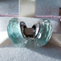 Frosty Mint Shimmer Fascinating Faceted Murano Glass Charm Bead For Brac... - $9.99
