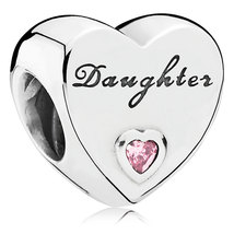 925 Sterling Silver Daughter's Love with Pink CZ Charm Bead QJCB728 - $21.88