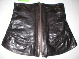 New NWT Womens 8 Leather Skirt Designer Front Zipper Black Italy 44 Coll... - $1,267.97 CAD