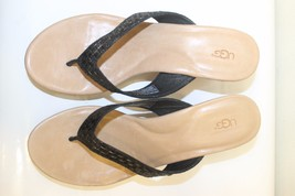 New UGG Natassia Metallic Black Women Wedge Shoes Sandals Sz 10 Leather - €84,27 EUR