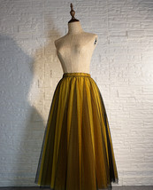 Black Yellow Tulle Maxi Skirt Outfit Plus Size Romantic Long Tutu Party Skirt  image 3