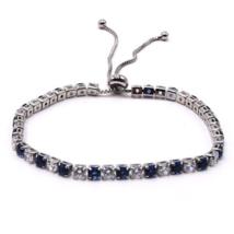 Blue & White CZ Slide Tennis Bracelet In Silver For Women - Fashion Jewlery - $20.76