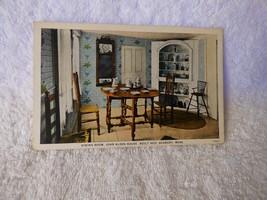 1920s Postcard Duxbury MAss Dining Room John Alden House Built 1653 Curt... - $4.00