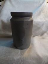 Antique 1860-70s 1 Quart Stoneware Crock Dark Grey Glaze Straight Sides ... - $45.00