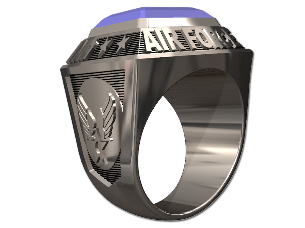 US AIR FORCE RING MENS CHAMPIONSHIP STYLE-Silvertone